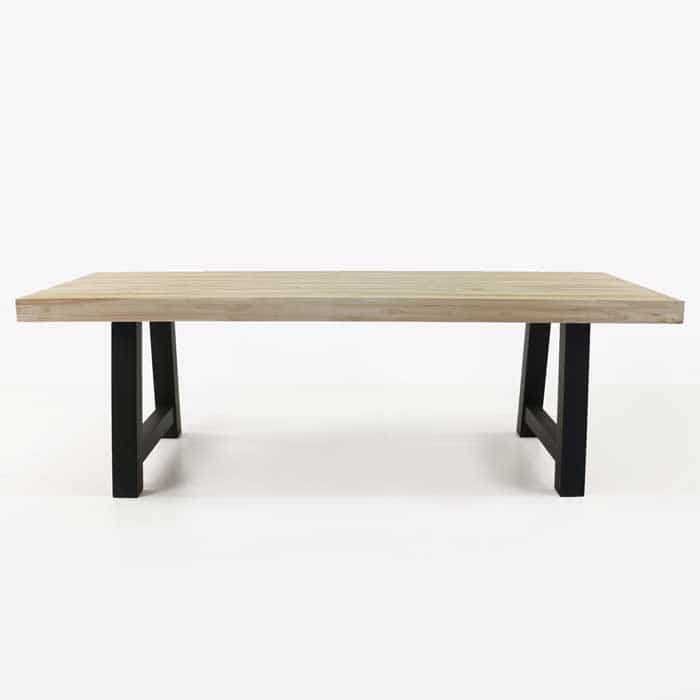 Village reclaimed teak table with black legs side view
