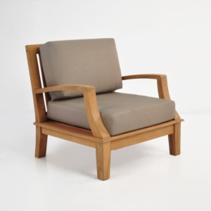 westminster teak club chair with sunbrella cushions