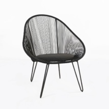 Abbey modern outdoor wicker chair in black