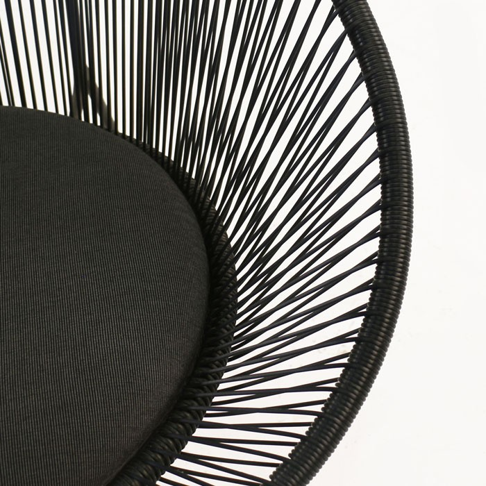 Abbey round outdoor wicker chair closeup