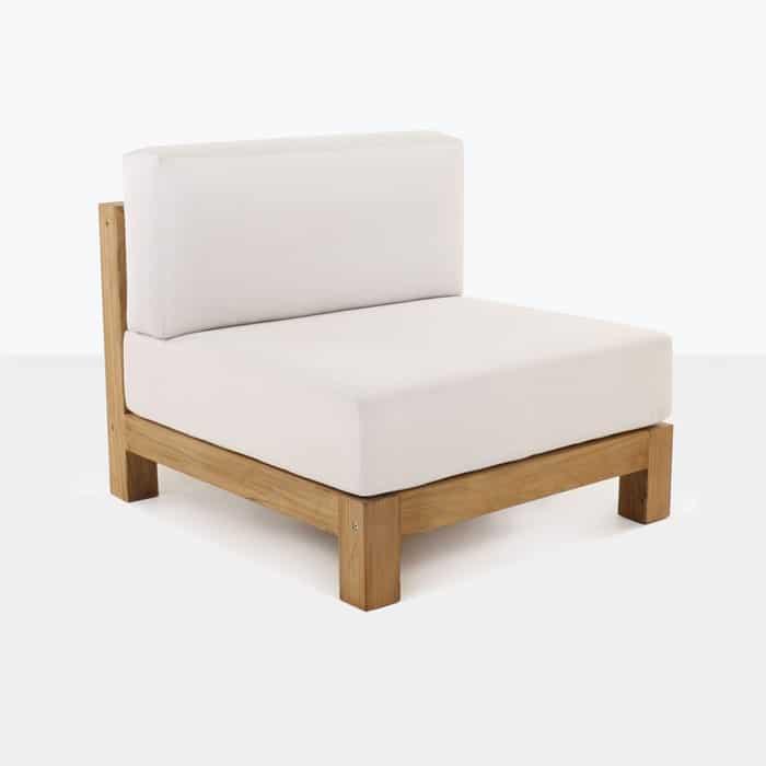 Ibiza teak armless chair with wihite cushion
