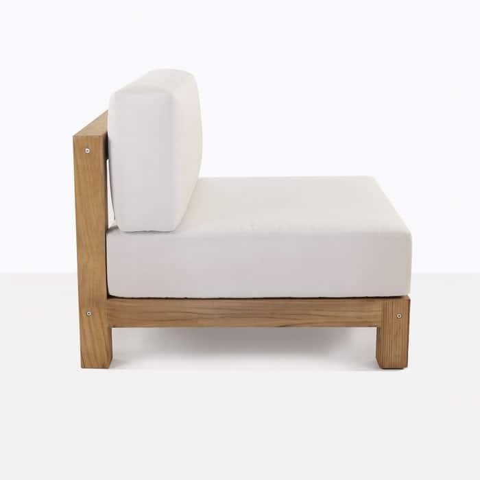 Ibiza teak club chair with white cushion side view