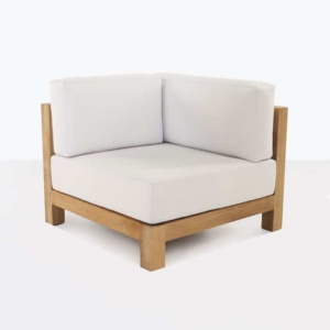 Ibiza teak corner chair with white cushion