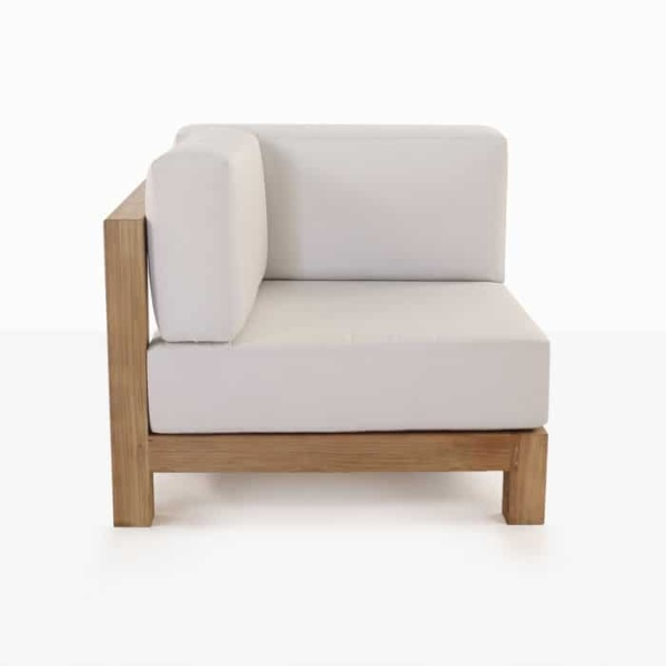 Ibiza teak corner chair with white cushion side view