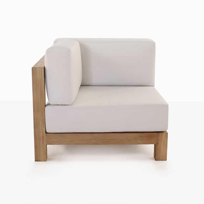 Ibiza teak corner chair with white cushion side view