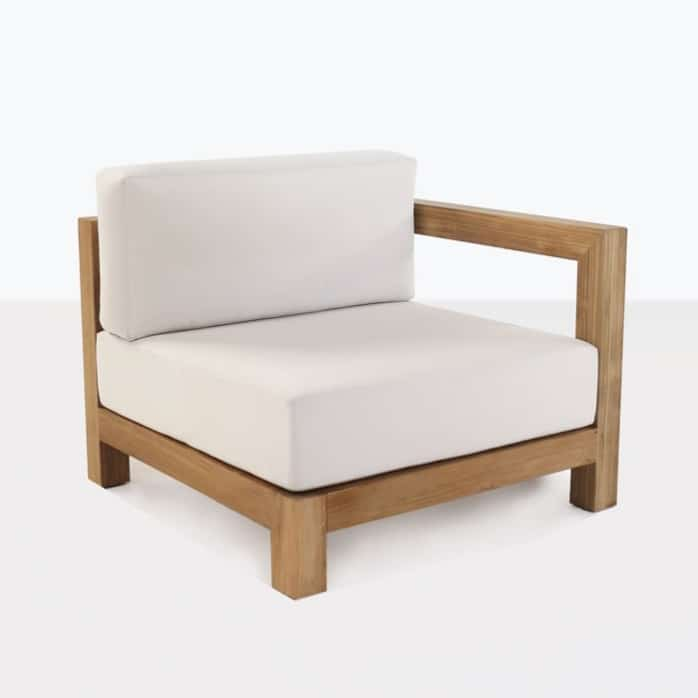 Ibiza teak left arm chair with white cushions