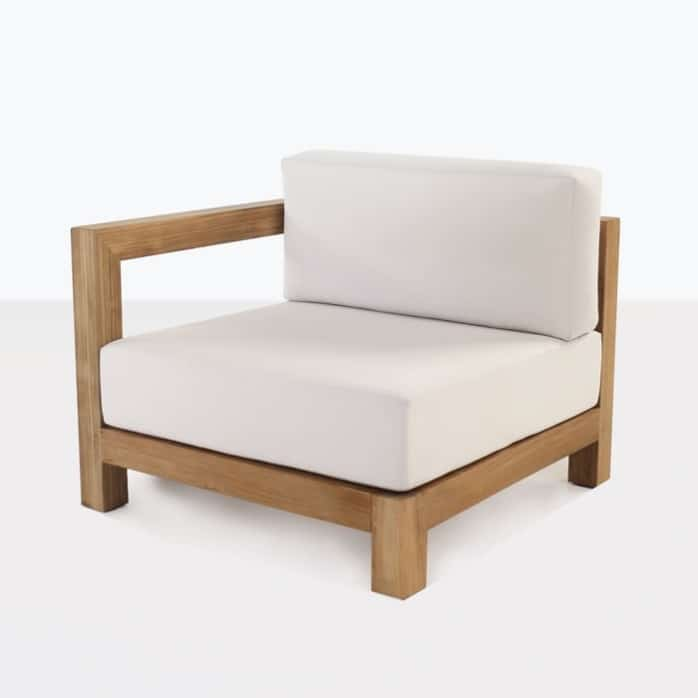 Ibiza teak right arm chair with white cushions
