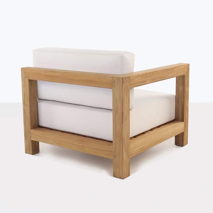 Ibiza teak right arm chair with white cushions