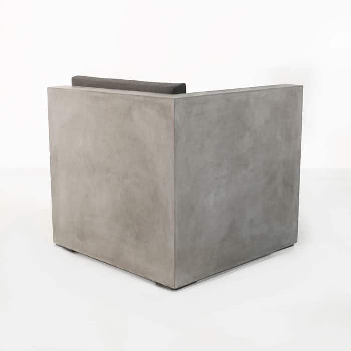 Box outdoor concrete chair back view