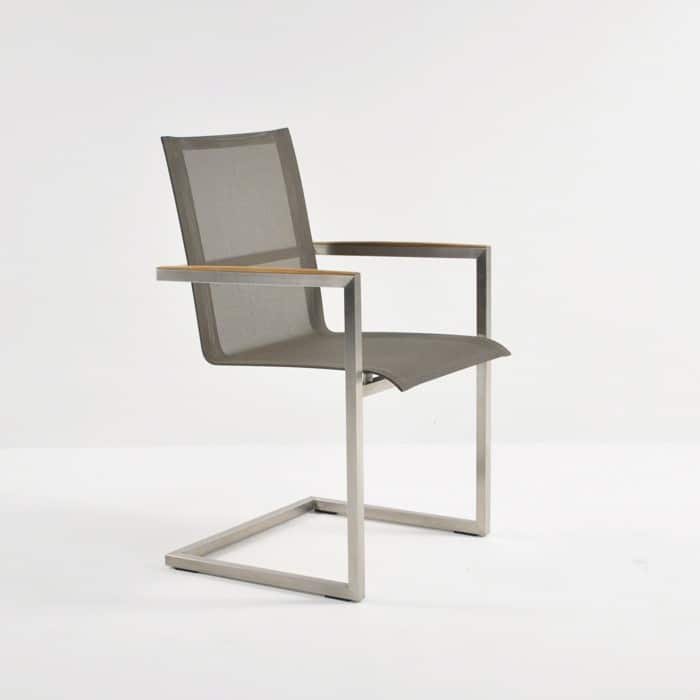 bruno stainless steel and batyline mesh dining chair in taupe colour