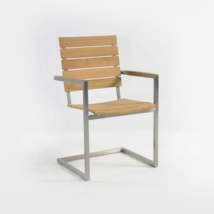 bruno stainless steel dining chair in teak