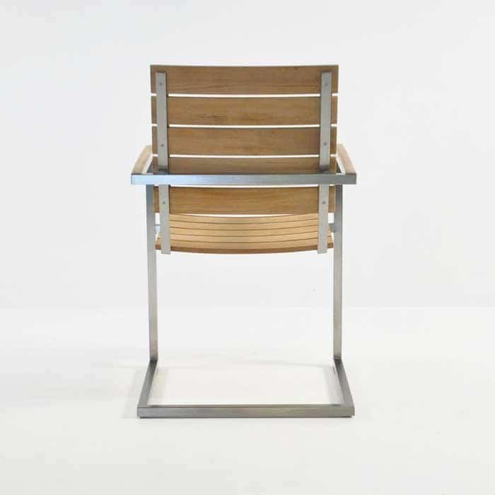 bruno stainless steel dining chair in teak rear view