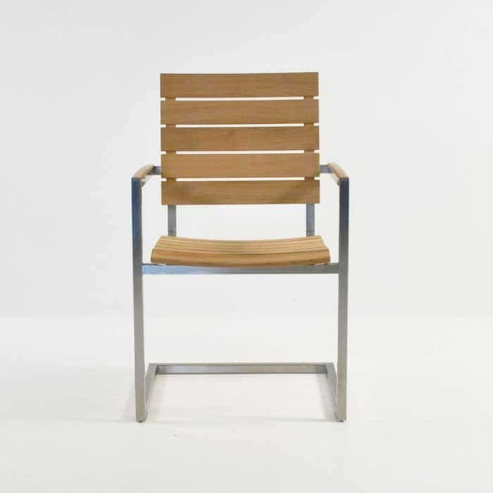 bruno stainless steel dining chair in teak front view