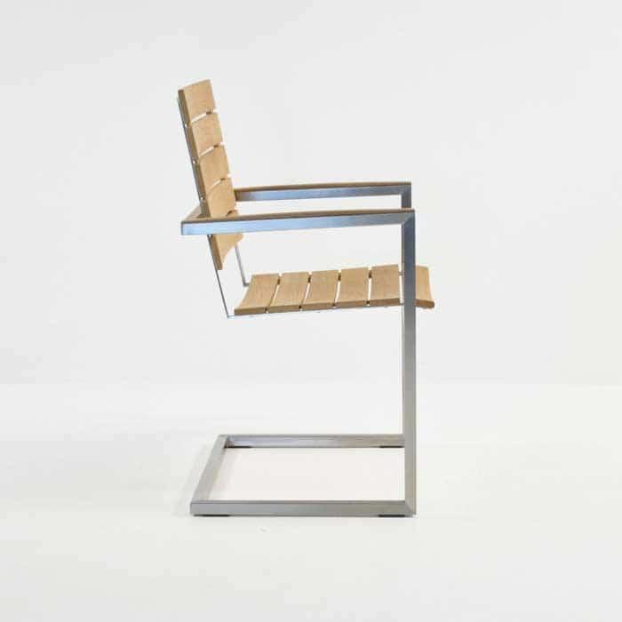 bruno stainless steel dining chair in teak