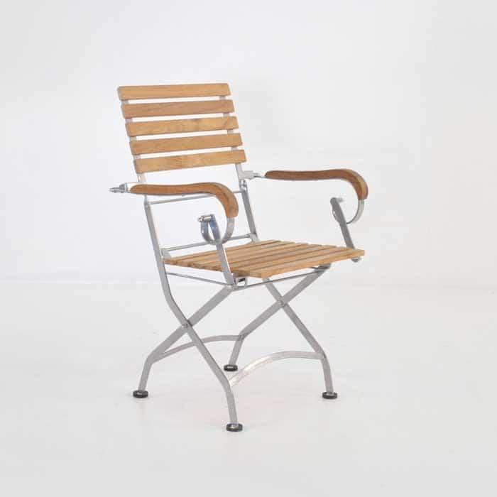 Café Teak Folding Dining Arm Chair