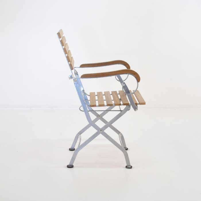 folding cafe chair with teak steel frame side view
