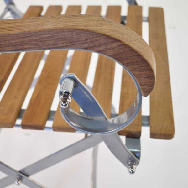 folding cafe chair with teak steel frame close up