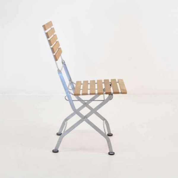 folding cafe chair with teak and powder coated steel frame