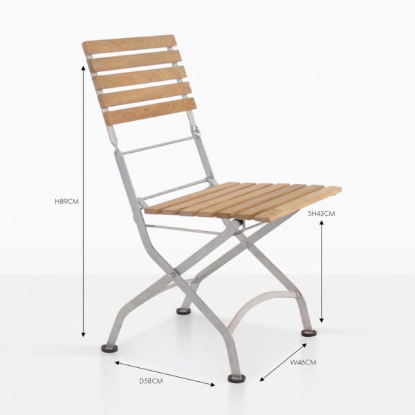 cafe teak dining folding chair