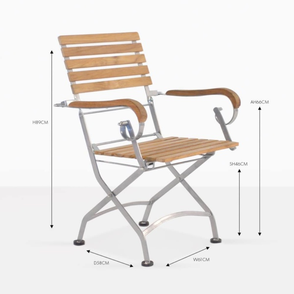 cafe teak folding dining chair