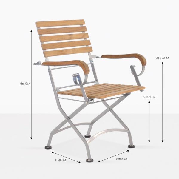 cafe folding teak arm chair