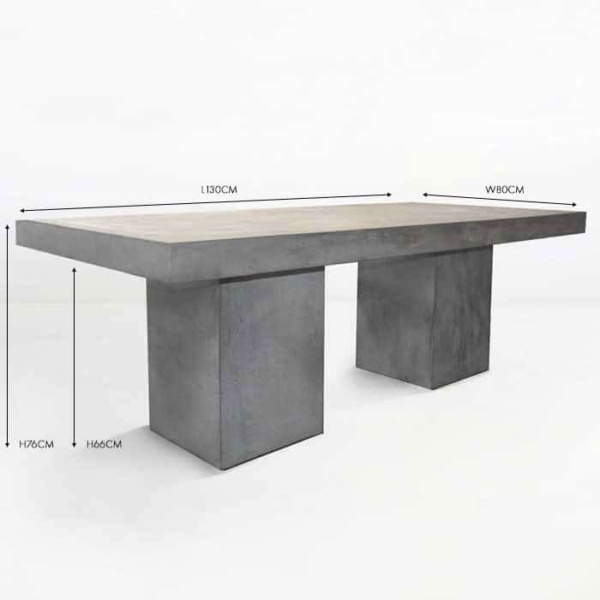 Blok Rectangle Concrete Outdoor Dining Table