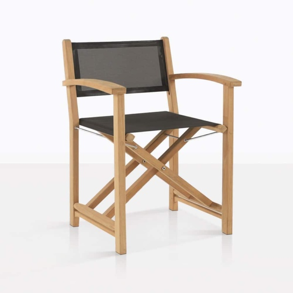 cannes directors outdoor teak black dining chair angle