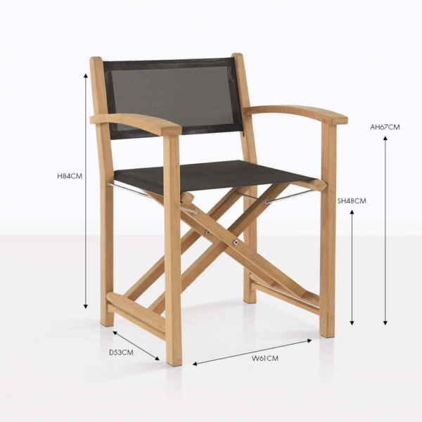 Cannes teak and mesh black folding dining chair