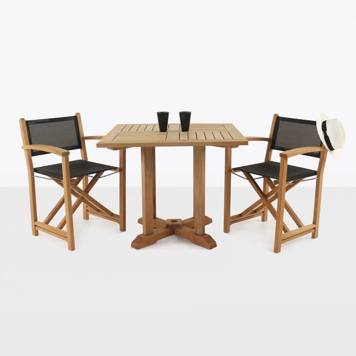 Teak square pedestal table & cannes directors chairs side view