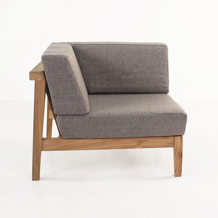 Copenhague reclaimed teak corner chair side view
