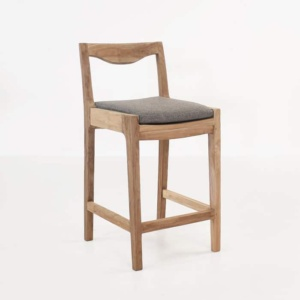 Curve reclaimed teak counter stool