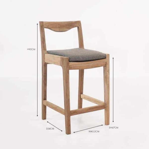 curve counter height reclaimed teak bar chair sunbrella seat