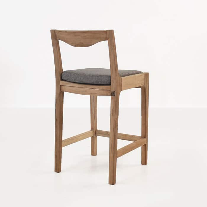 Curve reclaimed teak counter stool back view
