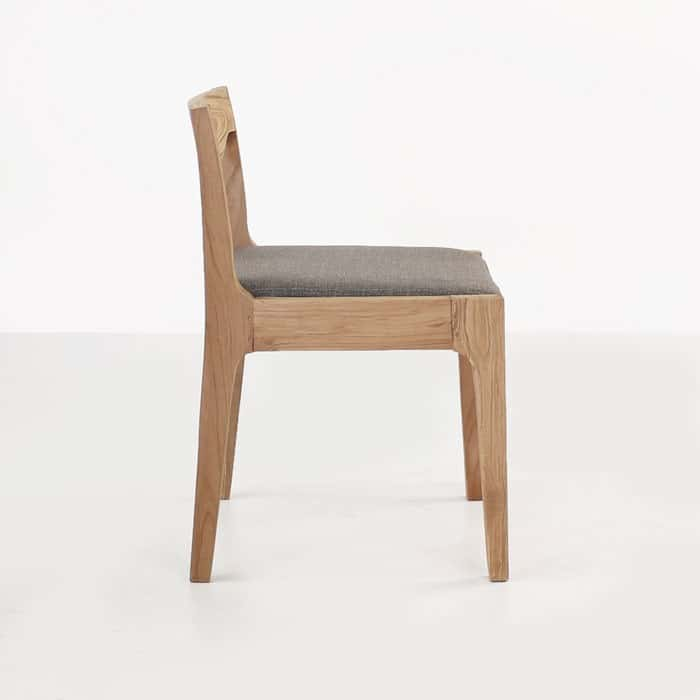 Curve reclaimed teak dining chair side view