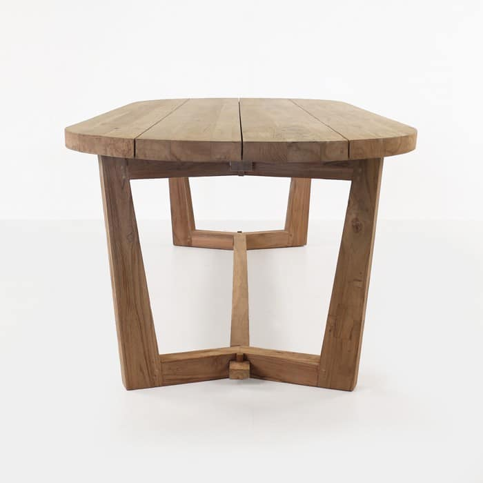 Danielle reclaimed teak oval dining table length