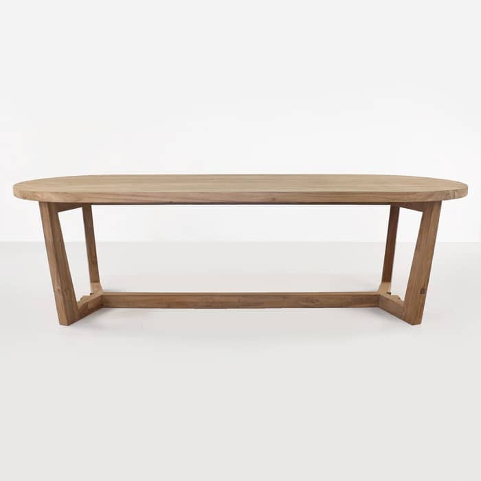 Danielle reclaimed teak oval dining table side view
