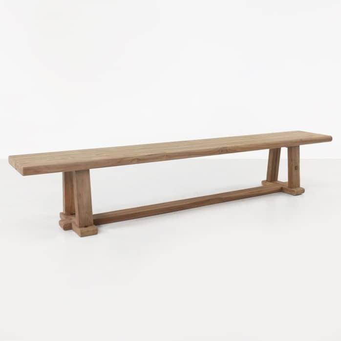 Joseph reclaimed teak backless bench angled