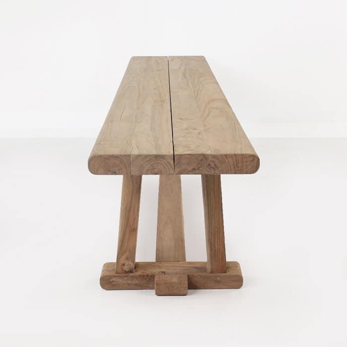 Joseph reclaimed teak backless bench side view