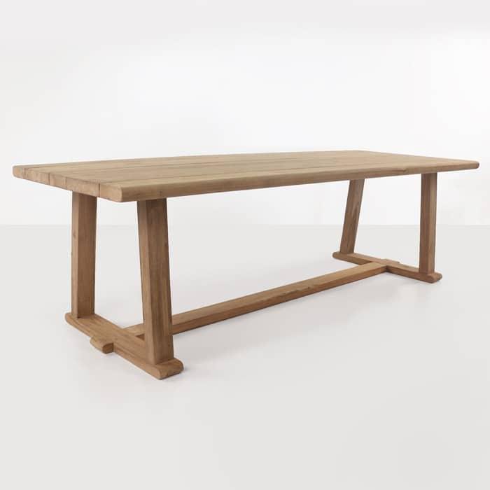 Joseph reclaimed teak dining table angled