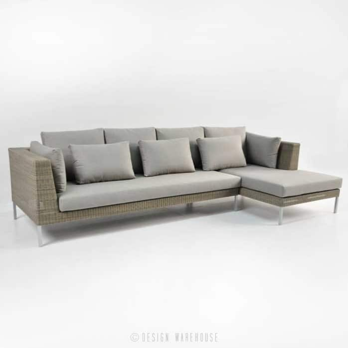 Madison Outdoor Wicker Furniture Combo in stonewash angle view