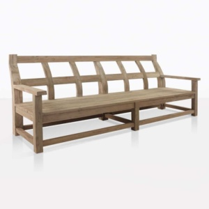 Millar outdoor bench reclaimed teak angle