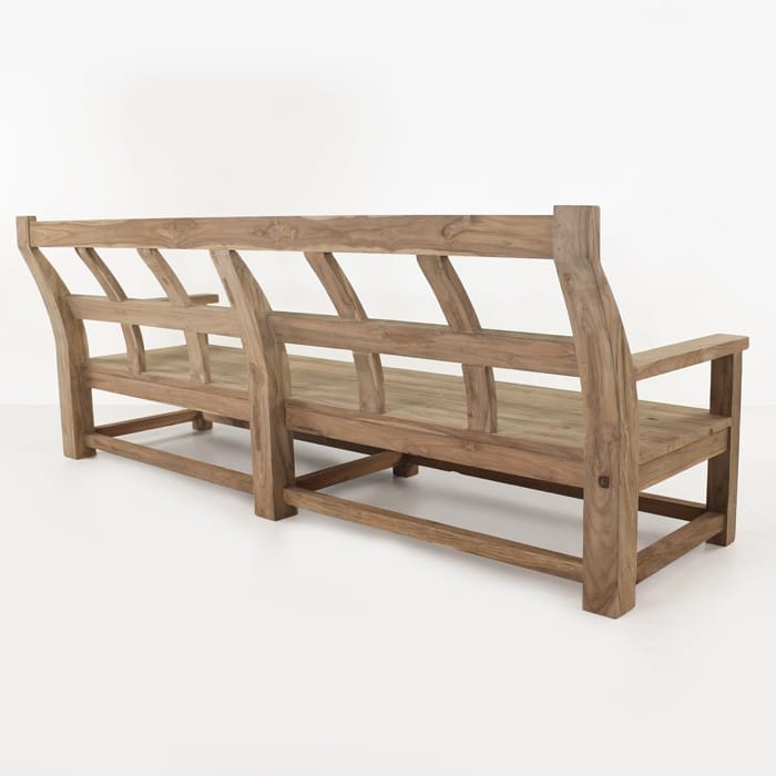 Millar long reclaimed teak bench back view