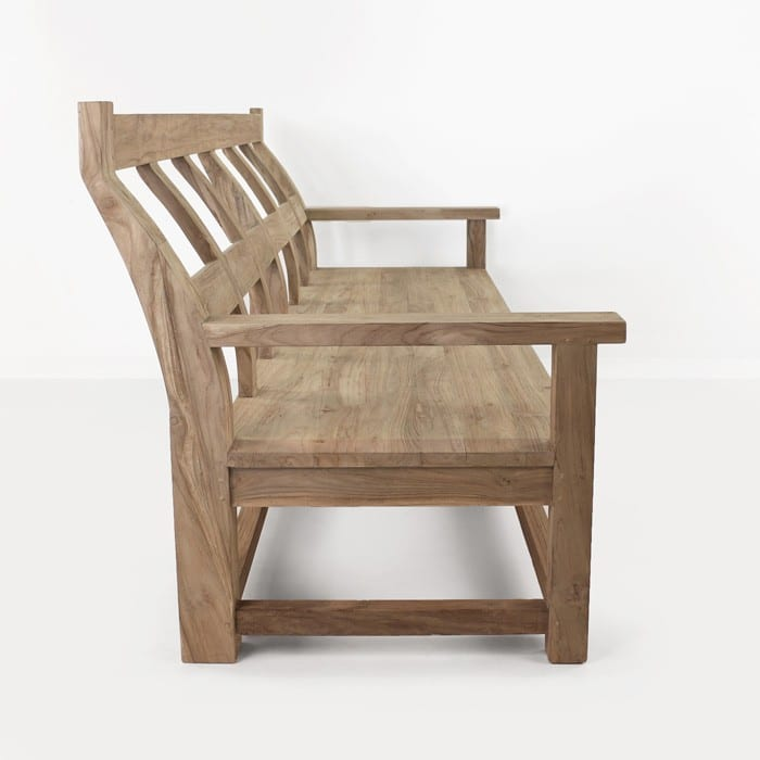 Millar long reclaimed teak bench side view