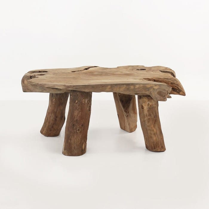 Nature reclaimed teak coffee table side view