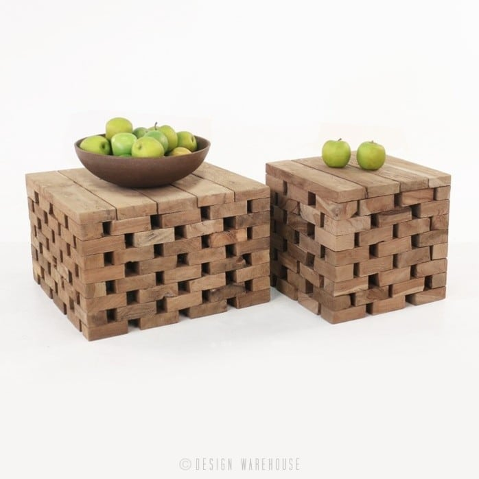 Puzzle reclaimed teak coffee tables with apples