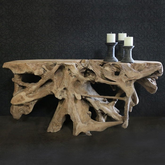 Reclaimed teak root console table