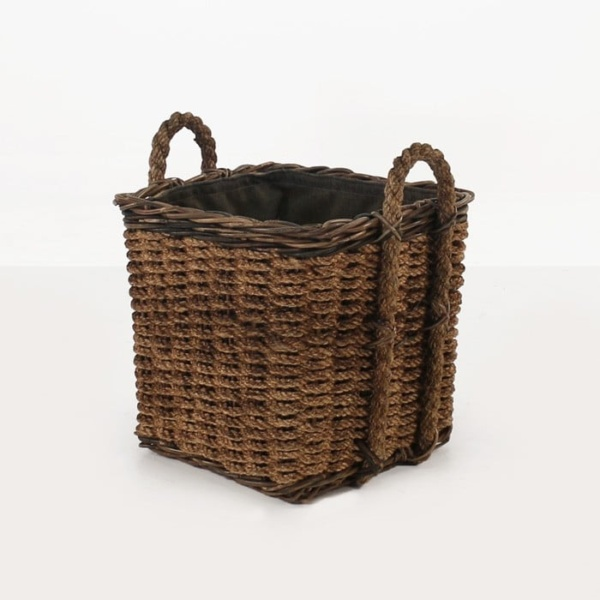 Square rope basket angle view