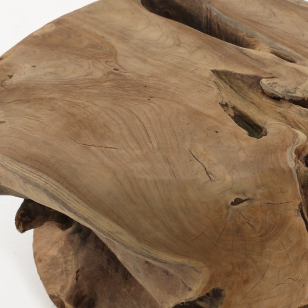 teak root ball table top close up