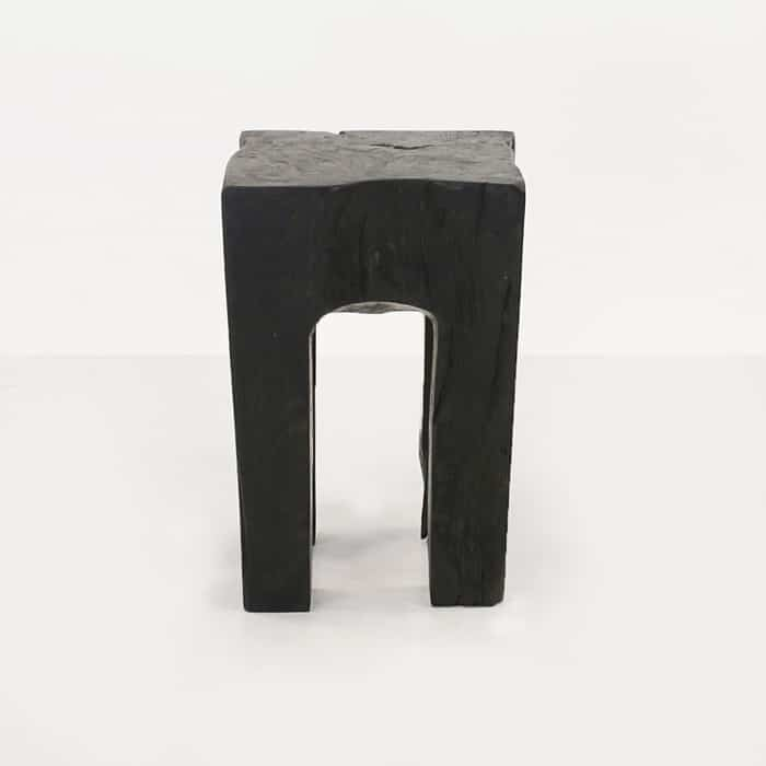 black teak root side accent table side view
