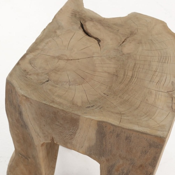 square teak root accent table close up